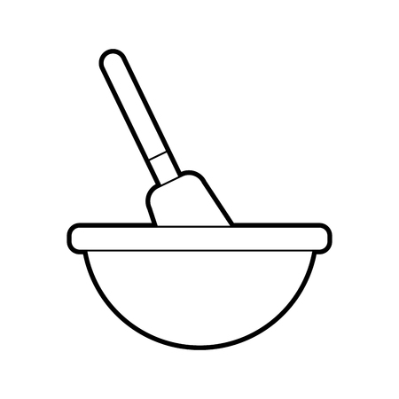 kitchen bowl with spatula utensil equipment for cooking vector illustration