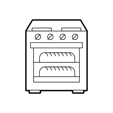 두 뜨거운 빵 아이콘 벡터 일러스트와 함께 오븐 오븐