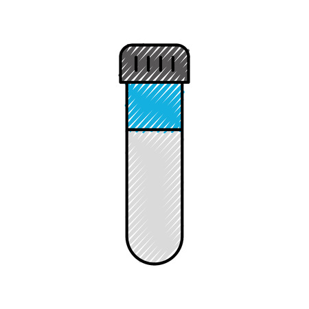 glass test tube with cap laboratory equipment vector illustration