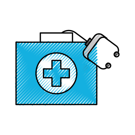 medical kit first aid with stethoscope equipment vector illustration