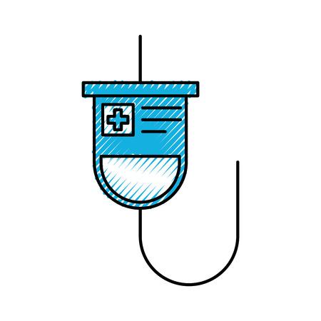 medische plastic zak iv hangende geneeskunde behandeling vectorillustratie Stock Illustratie