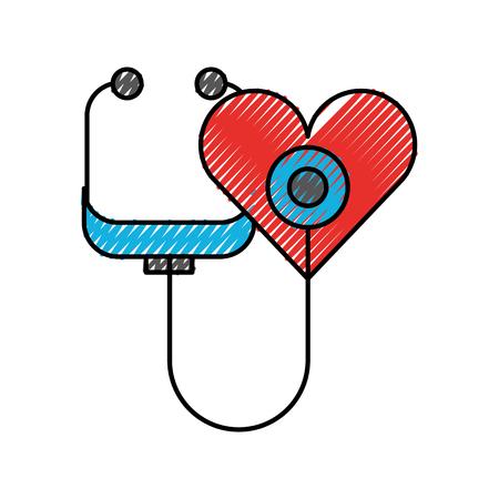 心臓健康のシンボル ベクトル図の形をした聴診器