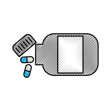 medicine bottle capsule healthcare symbol vector illustration
