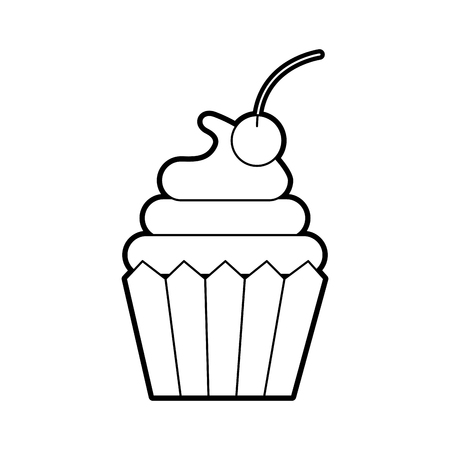 cupcake cherry bakery pastry food fresh vector illustration