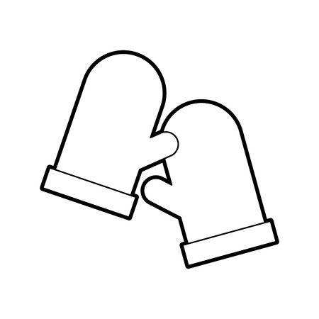 two glove holderpot kitchen icon vector illustration