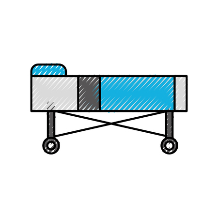 Letto ospedale con cuscino e ruote illustrazione vettoriale Archivio Fotografico - 86642028