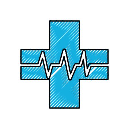 心と医療のクロス ビート健康的なベクトル図  イラスト・ベクター素材