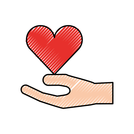 human hand donation charity support gesture vector illustration