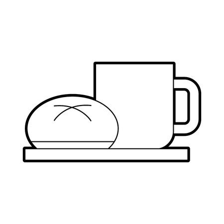 コーヒー カップお団子パン料理の朝食食品新鮮なホット ベクトル図