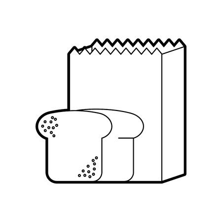 paper bag bread bakery pastry shop vector illustration