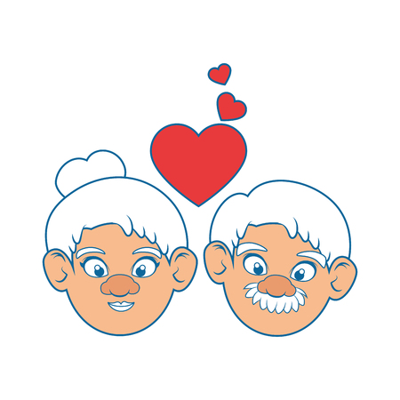 couple of grandparents and heart icon over white background colorful design vector illustration Stock Vector - 87013167