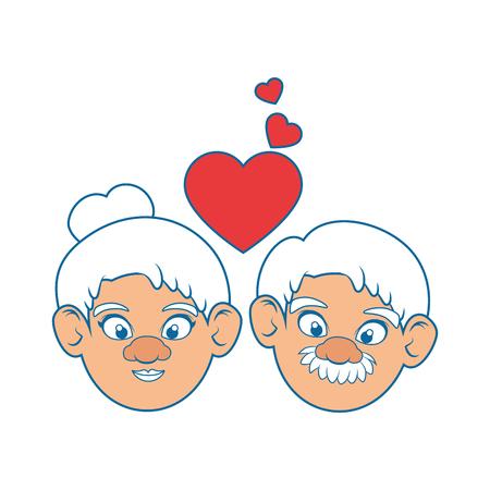 Paar Großeltern und Herzikone über bunter Design-Vektorillustration des weißen Hintergrundes Standard-Bild - 87013167