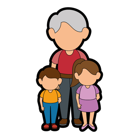 grandfather with kids icon over white background vector illustration