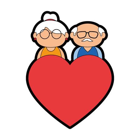 paar grootouders en hart pictogram over witte achtergrond kleurrijke ontwerp vectorillustratie