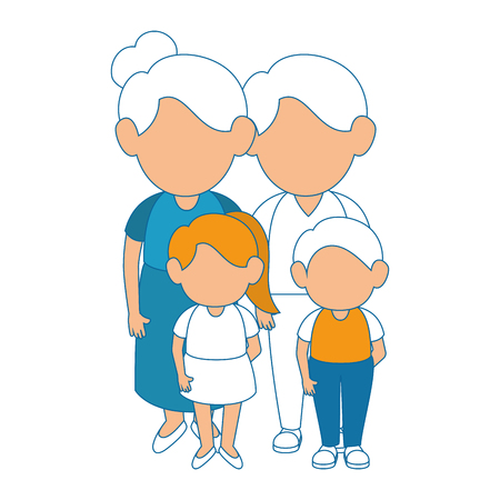 grandparents and kids  icon over white background colorful design vector illustration Иллюстрация