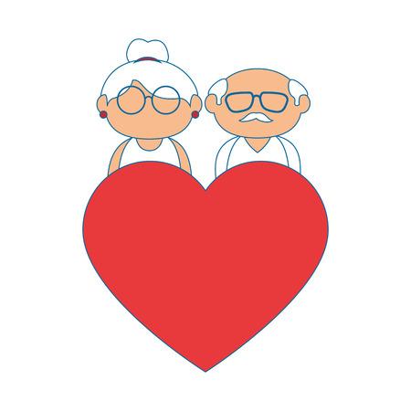 Paare von Großeltern und von Herzikone über weißer Hintergrundbunter Designvektorillustration Standard-Bild - 86957661