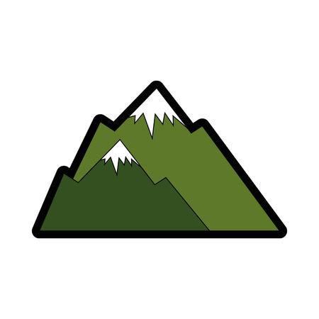mountains icon over white background colorful design vector illustration Ilustração