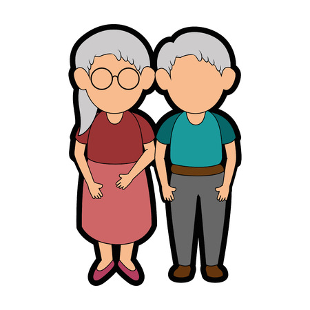 couple of grandparents icon over white background colorful design vector illustration Stock Vector - 86957669