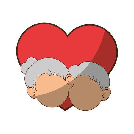 Paare von Großeltern und von Herzikone über weißer Hintergrundbunter Designvektorillustration Standard-Bild - 86957670