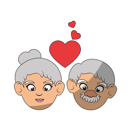 Paare von Großeltern und von Herzikone über weißer Hintergrundbunter Designvektorillustration Standard-Bild - 87013172