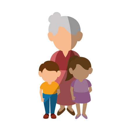 Grandmother and kids icon over white background colorful design vector illustration.