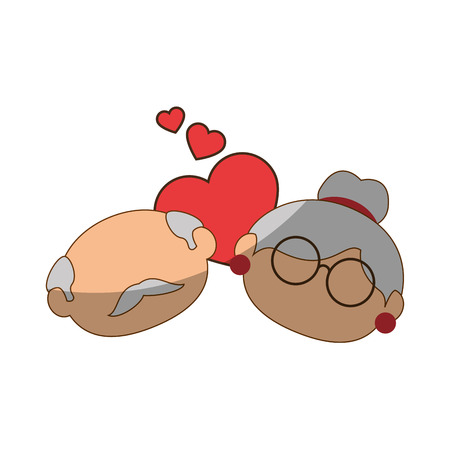 Paare von Großeltern und von Herzikone über weißer Hintergrundbunter Designvektorillustration Standard-Bild - 87013174