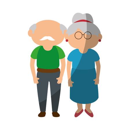 couple of grandparents icon over white background colorful design vector illustration