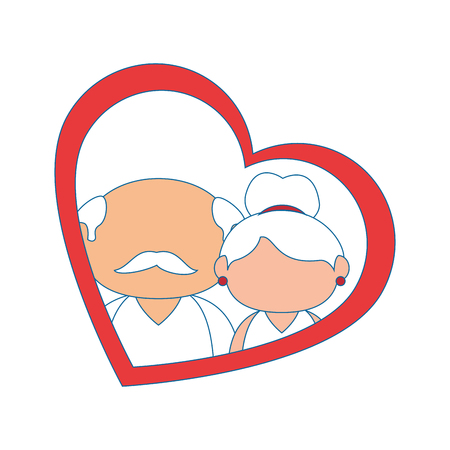 couple of grandparents and heart icon over white background colorful design vector illustration Фото со стока - 86957690