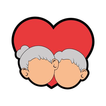 Paare von Großeltern und von Herzikone über weißer Hintergrundbunter Designvektorillustration Standard-Bild - 87013179