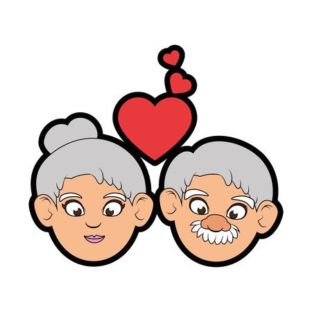 Paare von Großeltern und von Herzikone über weißer Hintergrundbunter Designvektorillustration Standard-Bild - 86957694
