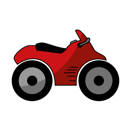 quad motorcycle icon over white background vector illustration