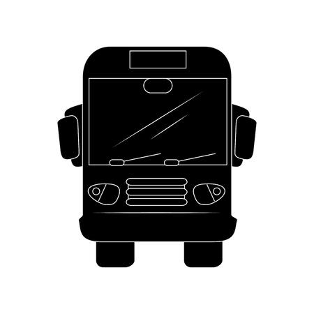 白い背景のベクトル図にバスのアイコン