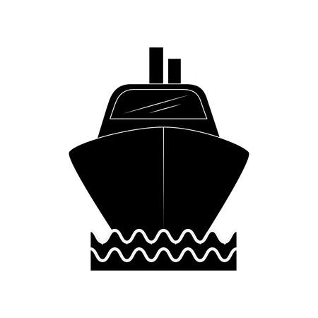 白い背景ベクトルイラストの上にクルーズ船のアイコン  イラスト・ベクター素材