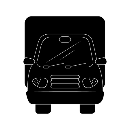 A cargo truck icon over white background vector illustration Illustration