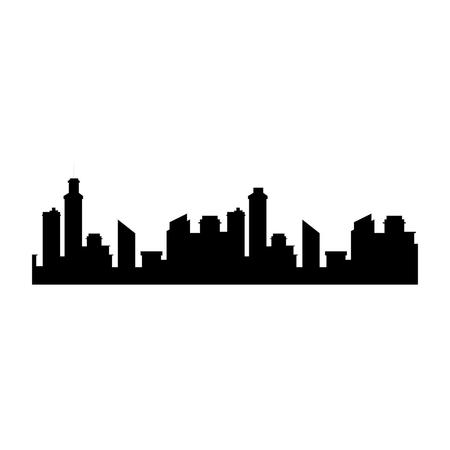 흰색 배경 벡터 일러스트 레이 션을 통해 도시 건물 아이콘의 실루엣 일러스트