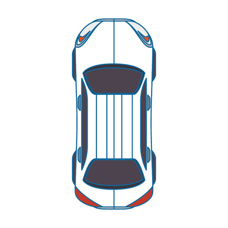 Car icon over white background top view vector illustration