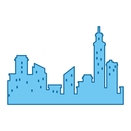 Silhouette of city buildings icon over white background vector illustration