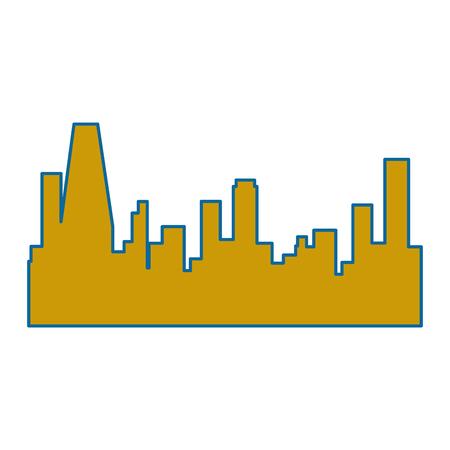 흰색 배경 벡터 일러스트 레이 션 위에 도시 건물 아이콘의 실루엣