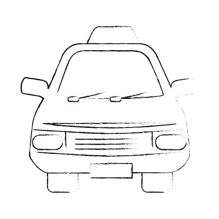 白い背景のベクトル図の上のタクシー車のアイコン  イラスト・ベクター素材