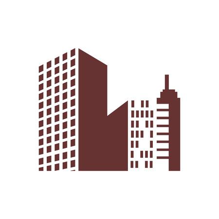 都会の街並みビューアイコンベクトルイラストグラフィックデザイン