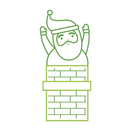 christmas santa claus in the chimney card vector illustration Banco de Imagens - 86856779