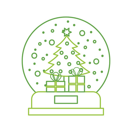 snow globe and christmas fir tree decorated with star balls and gifts box vector illustration Vetores
