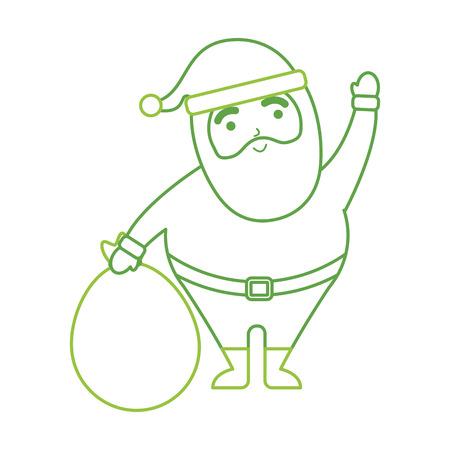 クリスマス バッグおもちゃで幸せなサンタ クロースの振っている手ベクトル イラスト 写真素材 - 86856786