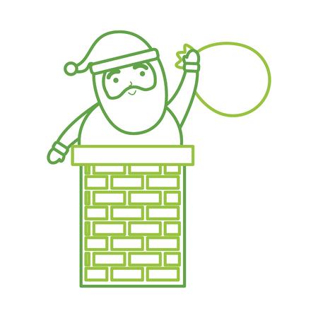 메리 크리스마스 산타 클로스 가방 장난감 선물 카드 벡터 일러스트와 함께 굴뚝에