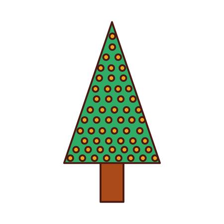 Kerstboom pine decoratie viering partij vectorillustratie.