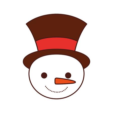 Christmas snowman cartoon smile character winter vector illustration. Illustration