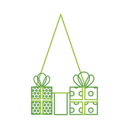 kerstboom pijnboom geschenkdozen decoratie viering vectorillustratie