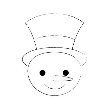 christmas snowman cartoon smile character winter vector illustration