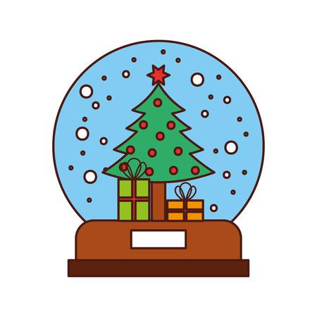 星のボールとギフト ボックス ベクトル イラスト飾られて雪の世界とクリスマスのモミの木  イラスト・ベクター素材