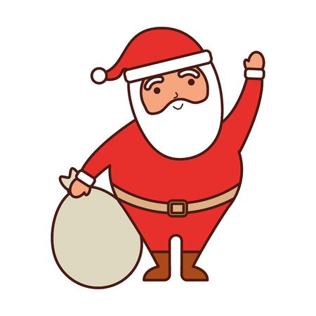 가방 장난감 벡터 일러스트와 함께 행복 한 크리스마스 산타 클로스 손을 흔들며 일러스트